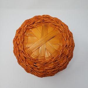 Holiday - Pumpkin Shape Wicker Basket